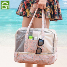 Large Capacity Beach Dry Wet Separating Tote Bag Waterproof Toiletry Shoe Travel Storage Bag Swimsuit Shower Pool Organizer Bag(China)