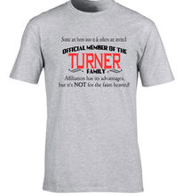 Turner Family Surname T-Shirt Birthday Gift Any Name Can B Added 40th 50th 60 Men 2017 Summer Round Neck Men'S T Shirt