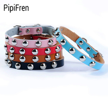 PipiFren Genuine leather Dogs Collars Spiked Necklace For Pets Collar Accessories Cat Belt Supplies Chihuahua collier chien cuir(China)