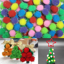 10/15/20mm Multicolour Glitter Pompon Plush Balls DIY Flower Crafts Toy Home Decor Decoration Wreaths Accessories Christmas Gift(China)