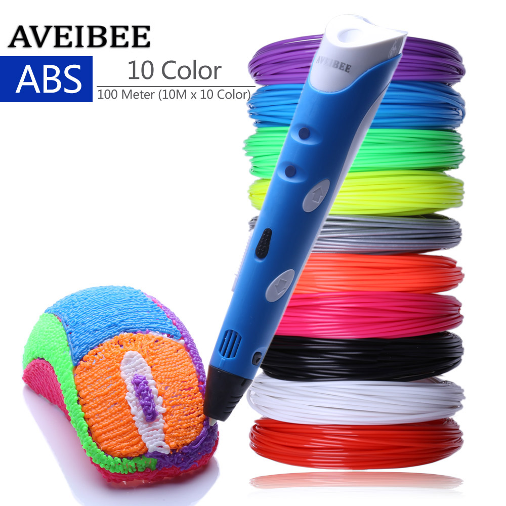 Blue Model 3D Pens 3 D Printing Pen With 10 Color 100 Meter ABS Filament Plastic Creative Gift For Design Painting Drawing<br>