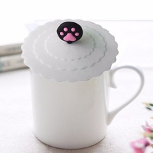 3 colors Cute Creative Magical  Silicone Leakproof Airtight Sealed Glass Cup&Saucer Cover Coffee Suction Seal Lid Cap  Cover