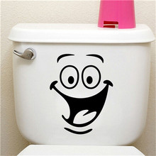 Cute Smile Face Big Eyes office hotel toilets bathroom home decal wall sticker/adesivo de parede for wedding decoration(China)