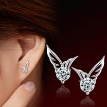 2017 fashion lady silver cute angel wings crystal earrings wholesale