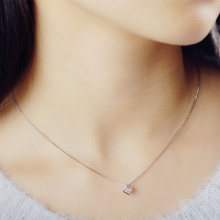 2017 high quality shiny crystal square pendant 925 sterling silver ladies`necklaces women short chain jewelry gift(China)