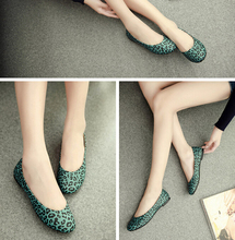 2015 Fashion Sweety Leopard PU flats shoes for Spring Lady and Women flat shoes & Green,White,Brown