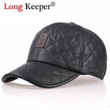 Brand Design Winter Baseball Caps Leather Golf Caps Men Leisure Sports Snapback Thickened Ear Hat gorras bone casquette HOT01