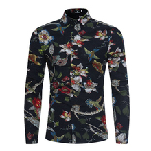 2017 New Weeding Men's Dress Shirt Hawaiian Party Shirt Print Flower Oversize 3XL Quality Button Up Shirt Black Beige Top Floral(China)