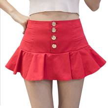 Buy Single Breasted Sexy Skirts Womens High Waist Pleated Tutu Skirt Cute Red Black White Dance Mini Skirt Shorts Ruffled Fishtail for $14.07 in AliExpress store