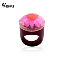 vestone Fashion  vestone  New Fashion  Wooden  Flowers  Rings Creative Handmade Rings for  Wood Ring   JH004
