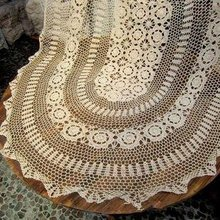 Handmade Crochet Tablecloth,size:51x71 Inches,Beige