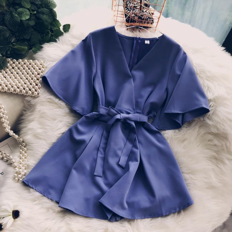 2018 Summer Jumpsuit Woman Pure Color Temperament V Collar Short Sleeve High Waist Slim Playsuits Ladies Playsuit 33