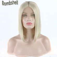 Bombshell white blonde #60 color short bob synthetic lace front wig glueless natural hairline middle parting for white women Wig(China)