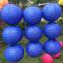 New 4-6-8-10-12-14 Inch Royal blue round Paper Lanterns Chinese round lamp festival decoration Lampion Wedding Decor glim party(China)