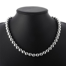 Hot 10MM silver beads necklace fashion jewelry pretty cute street style for woman good quality factory outlet N097