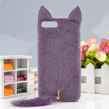 For Apple iPhone 7 Case 4.7'' kawaii Fluffy Plush Furry Fur Ears Pussy 3D Cats Tail Hard PC Cover For iPhone7 Phone Cases Capa
