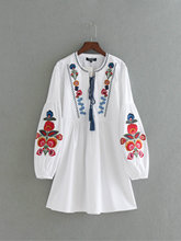 Women Bohemian Folk Embroidered White Dress with Lantern Sleeve(China)