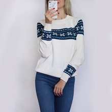 Spring Autumn Women's dress Geometric Jacquard Weave Round Neck Pullovers Knitted Sweater Fashion Comfort Jumper Tops
