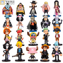Anime Animation One Piece Luffy Zoro Sanji Chopper Brook Franky PVC Figures Collection Model Q Version Toys 20pcs/set(China)