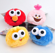 Free Shipping EMS 50/Lot 4 Color Sesame Street Plush Stuffed Keychain Doll Toy Gifts 8CM New
