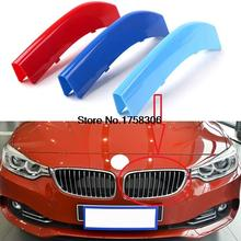 3D ABS  M Styling 3 Colors Car Front Grille Trim Sport Strips Cover sticker for 2013-2015 BMW 4 Series