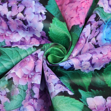 Green leaf Ziyan hydrangea digital painting polyester cotton fabric for dress shirt pillow telas patchwork tissu tissus au metre(China)