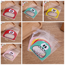 100pcs Eat Small Monsters Bakery Handmade Cookie Jewelry Bags Favor Cello Small OPP Gift Bag(China)