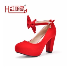 Comfort fashion women red high heel wedding shoes ladies pump round wearable anti-skid shoes female bows bridesmaids bride shoes(China)