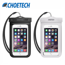 [2 Pack] CHOETECH Universal Waterproof Mobile Phone Bag,Clear Pouch Case Cover with Neck Strap for iPhone 6,Samsung S8,Xiaomi