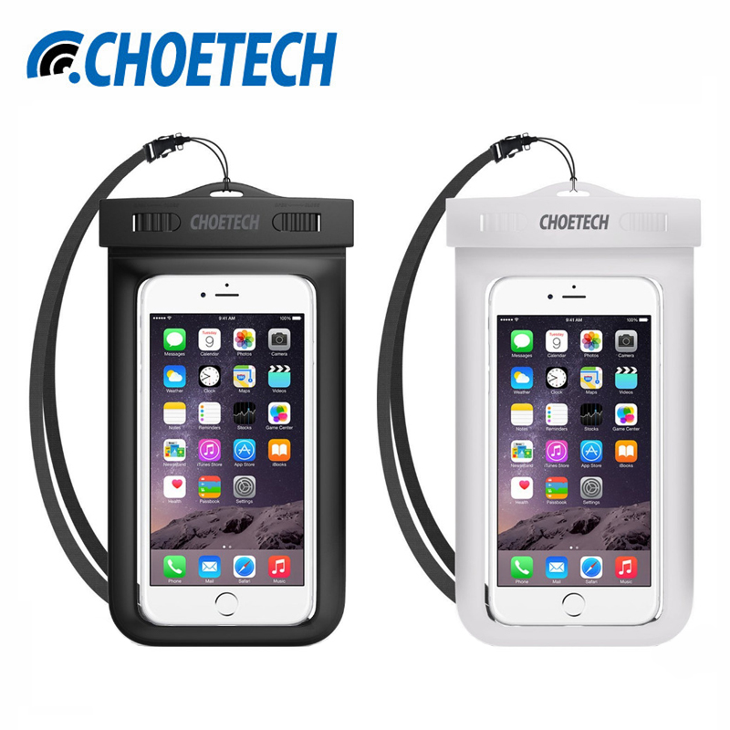 [2 Pack]CHOETECH Universal Waterproof Mobile Phone Bag,Dry Pouch Case Cover with Neck Strap for iPhone 7 6 for Samsung S8 Plus(China (Mainland))