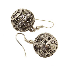 EQ126 Antique Tibetan Silver Color 3.7cm*2cm Hollow Ball Vintage Earrings For Women Girls 2014 New Jewelry Bijouterie