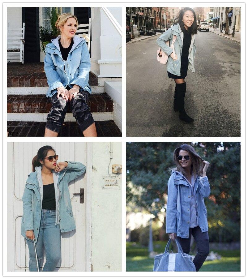 معطف جينز قطعتين دافئ وعصري 4