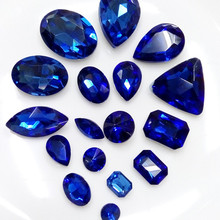 Mix sizes mix shapes 50pcs crystal cobalt blue color Pointed back glass crystal fancy stones perfect for diy design decoration(China)