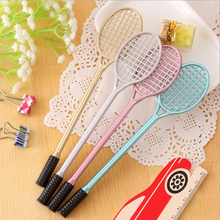 4Pcs/set Kawaii Badminton Rackets shape gel pen gold green silver pink color black ink promotional pen gift school supplies