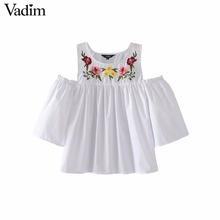 Vadim women off shouder floral embroidery pleated shirts three quarter sleeve blouse ladies casual brand tops blusas DT1181