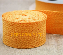 Bright yellow high quality knitting ribbon hemp cotton ribbon net fabric for fascinator hair accessory  hat bag decoration belt.