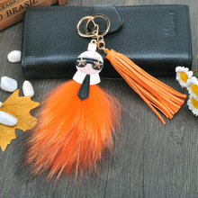 Fluffy Big Brand Genuine Raccoon Fur Pompom Monster Bag Bugs Charm Keychain Plush KeyRing Leather Tassel PompomFo-K001-orange(China)
