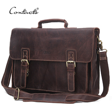 "CONTACT'S 2017 14"" Laptop Messenger Bags Vintage Genuine LeatherMen Shoulder Bag With Middle Zipper Pocket Leather Strap Men Bag(China)"