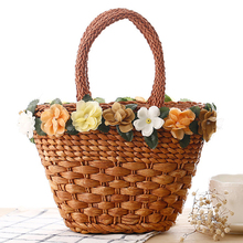 Large Straw Beach Bag Women Big Fashion Woven Straw Handbags Handmade Zipper Flower Shoulder Bag Ladies Designer High Quality