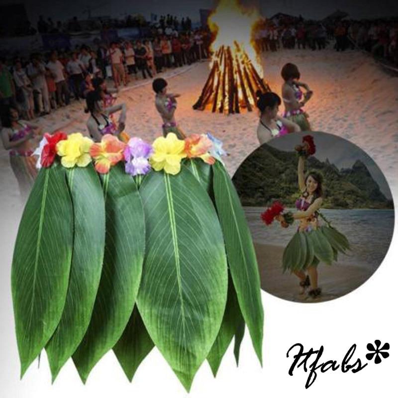 New HAWAIIAN PALMLEAF HULA SKIRT with Floral Hip Band ONE SIZE Ideal FANCY DRESS