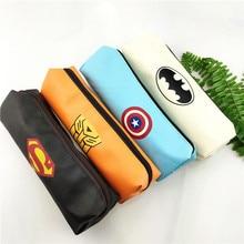 Hero Superman Avengers Pu Pencil Bag Batman Case Stationery Storage Pouch Pen Pecncil Box