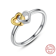 New 2017 Summer Collection 925 Sterling Silver Heart to Heart Ring Double Heart Fine Jewelry for Women(China)