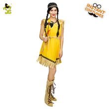 New Design Yellow Fringed Indian Woman Costume Adult Carnival Party Pretty Native Indian Princess Cosplay Fancy Outfits(China)