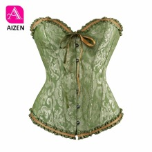 AIZEN vintage green corsets and bustiers shapewear lingerie overbust corset plus size brocade women sexy corset 6xl red black(China)