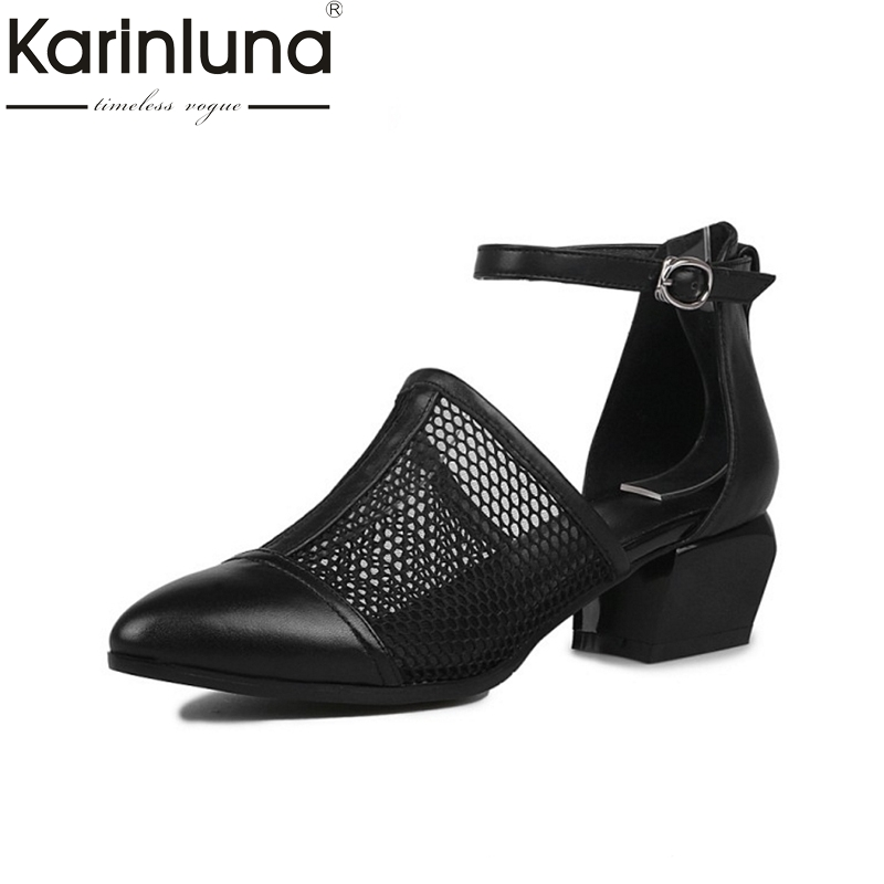 KARINLUNA 2017 brand new size34-40 genuine leather Black women shoes woman sandals nature cow leather black party shoes<br>
