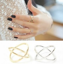 WLP fashion finger rings High quality simple Fork solid hollow around the section ring for Women gold silver color rings(China)