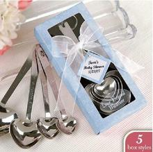 Blue Color Silver Heart Shaped Measuring Spoons Wedding Bridal Shower Party Gift Valentine's Day Favors Children Kids Present