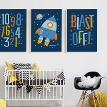 Popigist Cartoon Blue Rocket English Digital Canvas Art Painting Print Poster Picture Wall Child Boy Room House Decorative Mural(China)