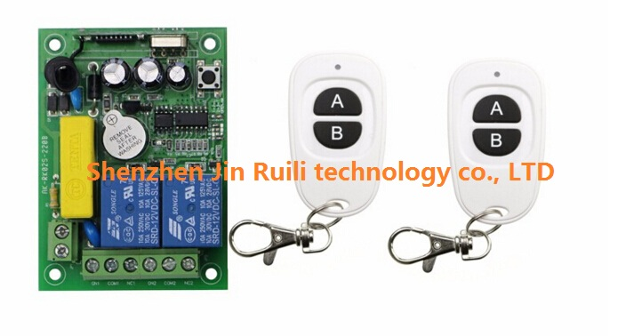 NEW 220V 2CH 10A RF Wireless Switch Relay Receiver Remote Controllers &amp; 2* White AB keys Waterproof Transmitter<br><br>Aliexpress