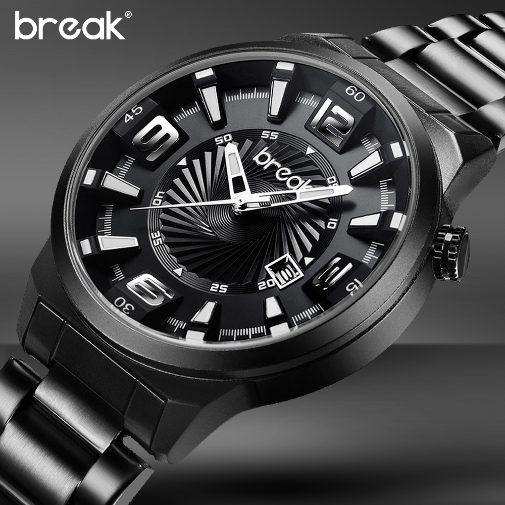 BREAK Men Watches Style Male Top Brand Luxury Stainless Steel Band Fashion Casual Streetwear Quartz Sports Wrist Watches Brands<br>
